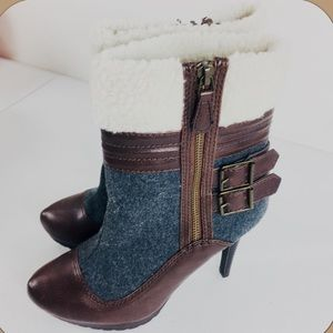 Elle Faux Leather Faux Fur Stiletto Platform Boots